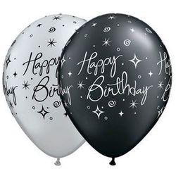 Balony lateksowe z nadrukiem Happy Birthday czarne i srebrne - 30 cm - 5 szt.