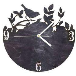 Drewniany zegar na ścianę Ptaszek na gałązce z białymi wskazówkami Dekoracje drewniane na ścianę (-10%)