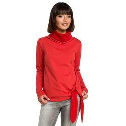 Czerwona Elegancka Bluza z Wysokim Kołnierzem