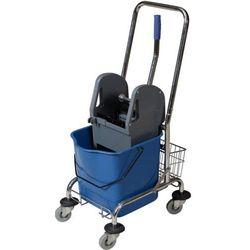 Wózek do mycia podłóg jednowiaderkowy 23 l z koszykiem i wyciskarką Wózek sprzątający chromowany jednowiaderkowy