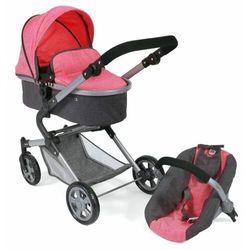 Bayer Chic wózek dla lalek LIA z fotelikiem samochodowym różowo-ciemnoszary