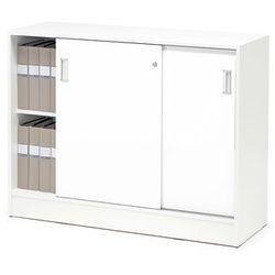 Szafka FLEXUS z drzwiami przesuwnymi, 2 półki, 925x1200x415 mm, biały, biały
