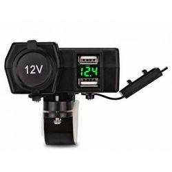 Wodoodporne Motocyklowe Gniazdo Zapalniczki LED 12v 2x USB 5V z wyłącznikiem