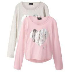 Shirt z długim rękawem (2 szt.) bonprix naturalny melanż + pastelowy jasnoróżowy