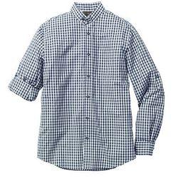 Koszula w ludowym stylu Slim Fit bonprix ciemnoniebiesko-biały w kratę