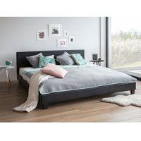 Łóżka, Łóżko czarne - do sypialni - 160x200 cm - podwójne - skórzane - ORELLE