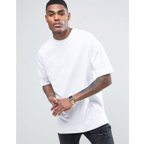 T-shirty męskie, ASOS Oversized Longline T-Shirt In White With Turn Up - White