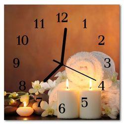 Zegar ścienny kwadrat Świece spa