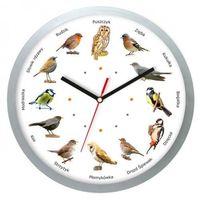 Zegary, Zegar z głosami ptaków plastik srebrny #2
