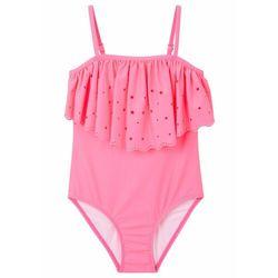 Kostium kąpielowy dziewczęcy bonprix różowy neonowy