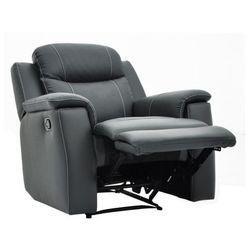 Skórzany fotel z funkcją relaks EVASION - szary