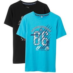 T-shirt (2 szt.) bonprix czarny + turkusowy