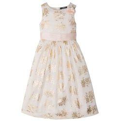 Sukienka dziewczęca na uroczyste okazje bonprix ecru-złoty z nadrukiem