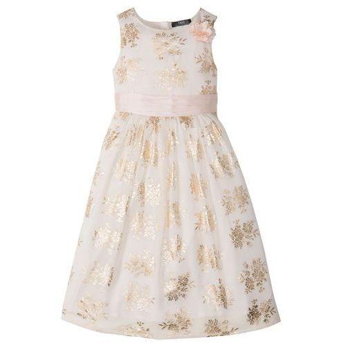 Sukienki dla dzieci, Sukienka dziewczęca na uroczyste okazje bonprix ecru-złoty z nadrukiem