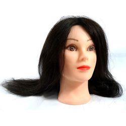 Główka Fryzjerska Treningowa Włos Naturalny 55cm + Uchwyt