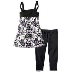Sukienka + legginsy 3/4 (2 części) bonprix czarny - wzorzysty