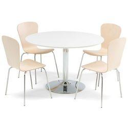 Zestaw mebli do stołówki, stół Ø1100 mm, biały, chrom + 4 krzesła brzoza