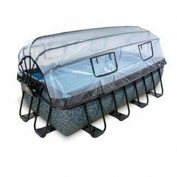 Basen Exit Stone szary prostokątny 400 x 200 cm składany dach drabinka pompa filtrująca
