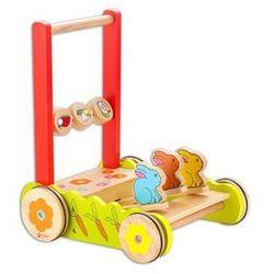 Drewniany wózek do pchania z króliczkami chodzik Classic World