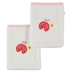 pink or blue Girls Zestaw dwóch myjek Biedroneczka kolor biały/różowy