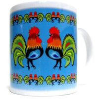 Kubki, Kubek z motywem ludowym, koguty łowickie (niebieski)