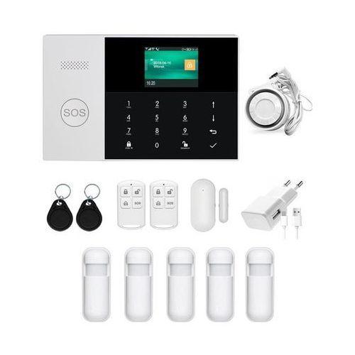 Zestawy alarmowe, Bezprzewodowy alarm GSM + WiFi PG105 R5 + syrena 105 dB - 5 czujników ruchu \ Syrena przewodowa 105 dB PG105 R5 przew (-30%)