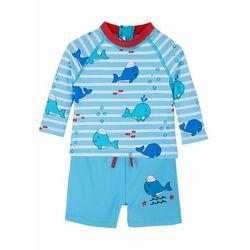 Shirt kąpielowy niemowlęcy + spodenki kąpielowe (2 części) bonprix jasnoniebieski w paski