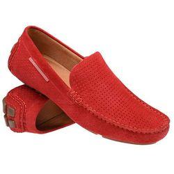 Mokasyny BADURA 3219-1025 Czerwone męskie wsuwane - Czerwony