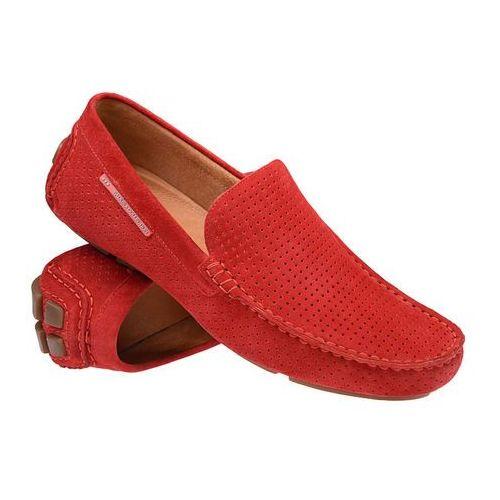 Półbuty męskie, Mokasyny BADURA 3219-1025 Czerwone męskie wsuwane - Czerwony