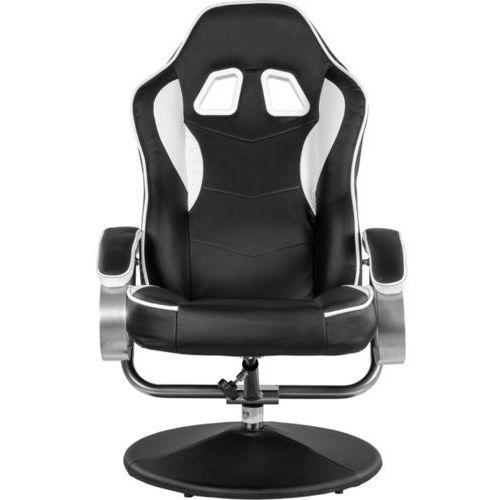 Fotele dla graczy, CZARNO BIAŁY FOTEL WYPOCZYNKOWY OBROTOWY DLA GRACZA PRZED TV - Czarno - biały