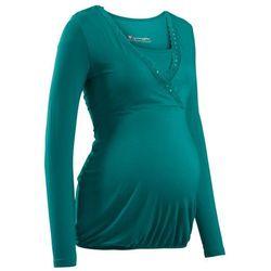 Shirt ciążowy i do karmienia, z koronkową wstawką, długi rękaw bonprix niebieskozielony morski