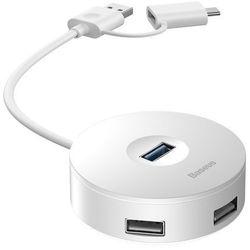 Baseus Round box | HUB adapter rozdzielacz USB-C USB-A do 4x USB 12cm | biały - Biały \ 12cm