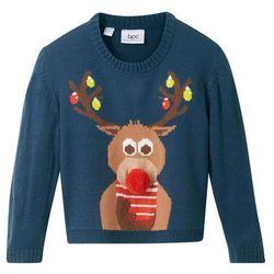 Sweter chłopięcy z bożonarodzeniowym motywem bonprix ciemnoniebieski