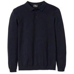 Sweter polo z dzianiny o gładkim splocie drobnych oczek bonprix ciemnoniebieski