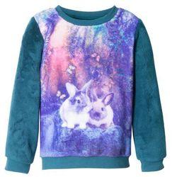 Bluza dziewczęca z polaru baranka bonprix niebieskozielony