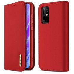 DUX DUCIS Wish skórzane etui pokrowiec ze skóry naturalnej Samsung Galaxy S20 Plus czerwony - Czerwony