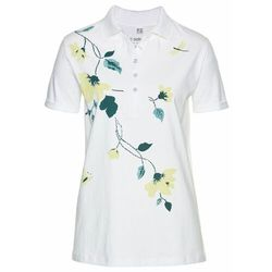 Shirt polo bonprix biało-głęboki zielony z nadrukiem