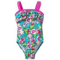 Stroje kąpielowe dziecięce, Kostium kąpielowy dziewczęcy bonprix różowo-turkusowy w kwiaty