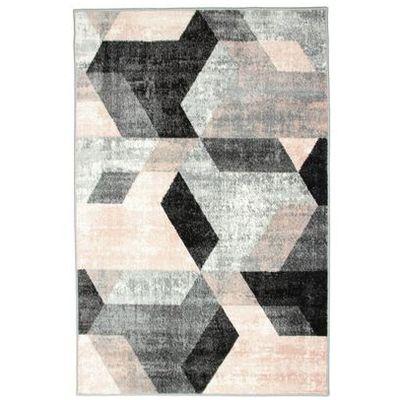 Dywan Pastel Kafel Szaro Różowy 80 X 150 Cm