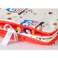 Pościel, MAMO-TATO Zabawka Pościel minky dla lalek Sówki kremowe D / czerwona pomarańcza