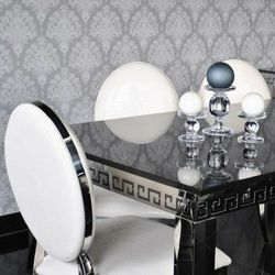 Stół glamour Verona - stal szlachetna blat kamienny nowoczesny