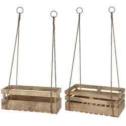 Zestaw 2 skrzynek balkonowych, wieszak na doniczki, drewno mango