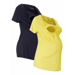 Shirt ciążowy i do karmienia piersią TENCEL™ (2 szt.) bonprix żółto-ciemnoniebieski