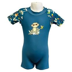 Strój kąpielowy kombinezon dzieci 76cm filtr UV50+ - Petrol Jungle \ 76cm