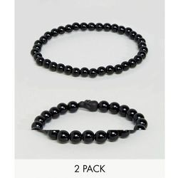 ASOS Beaded Bracelet Pack In Matte Black With Skull Design - Black