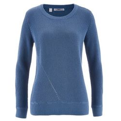 Sweter z długim rękawem bonprix niebieski dżins