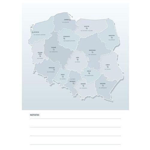 Tablice szkolne, tablica suchościeralna mapa Polski z nazwami województw i miast wojewódzkich 190