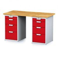 Stoły warsztatowe, Stół warsztatowy MECHANIC, 1500x700x880 mm, 2x 4 szufladowy kontener, szary/czerwony