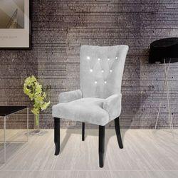 vidaXL Aksamitny fotel z drewnianą ramą, srebrny Darmowa wysyłka i zwroty