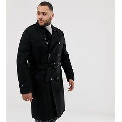 ASOS DESIGN Plus shower resistant longline trench coat with belt in black - Black